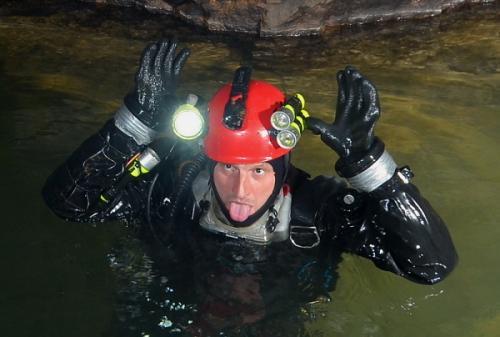 Explorace SDD Jeroným v zatopené části komora K1, stanoviště KV2 (Mine Diving) the second part of the dive