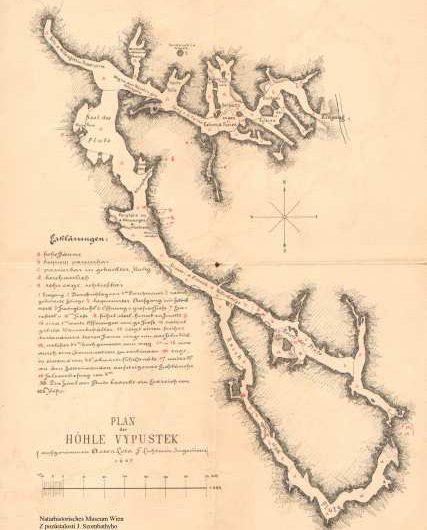 Lolovy mapy jeskyně Výpustek z roku 1807