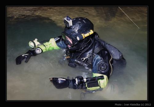 Explorace zatopených částí dolu Jeroným (Mine Diving) one part of the dive
