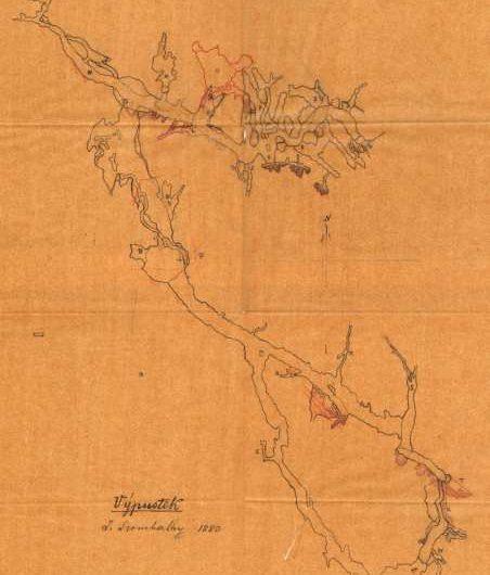 Szombathyho mapy jeskyně Výpustek z roku 1880